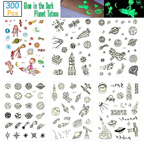 Onene 12 sheets Glow in the Dark Spaceship Temporary Tattoos for Kids, Solar System Universe Outer Space Planet Fake Tattoo Stickers for Boys and Girls, Nice Kids Birthday Party Favors (300 Pieces)
