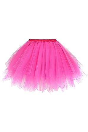 Misshow - Mini Falda de Tul Rockabilly para Mujer Fucsia XL ...