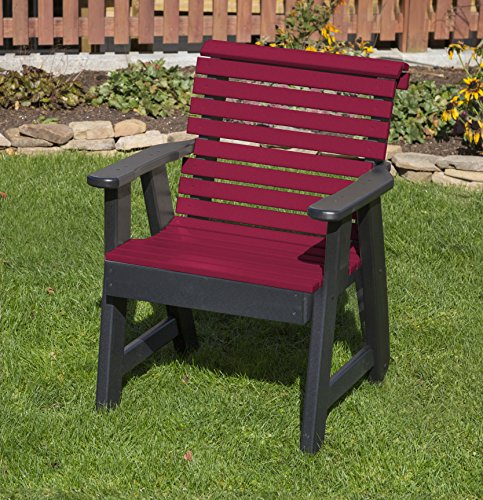 (CHERRYWOOD-POLY LUMBER ROLL BACK Poly Resin 2 FEET Patio Garden Chair Heavy Duty EVERLASTING PolyTuf HDPE - MADE IN USA - AMISH CRAFTED)