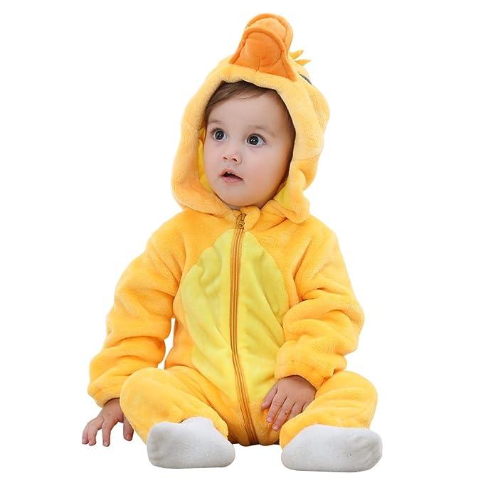 e1ecdfe1df50 Amazon.com  IDGIRLS Unisex Baby Hooded Romper Flannel Animal ...