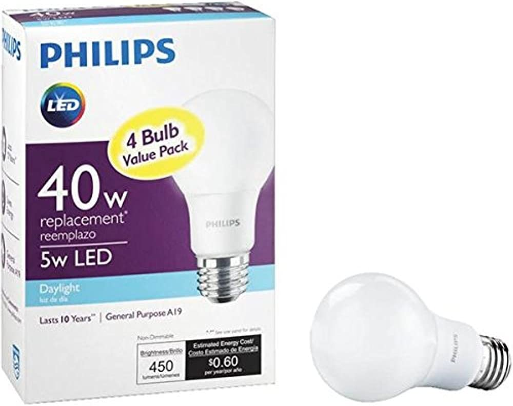 PHILIPS 469809 4-Pack 40W Equivalent Daylight A19 Medium LED Light Bulb