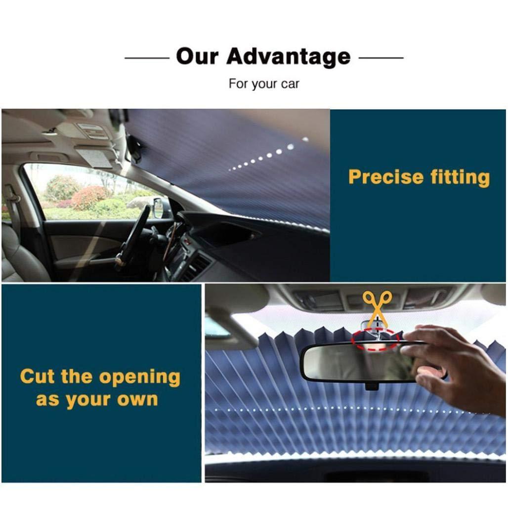A//70x155cm Quaanti Vehemo Front Windshield Universal Retractable Sun Visor UV Protection SUV Sun Shade Car Accessories Sun Curtain Shade