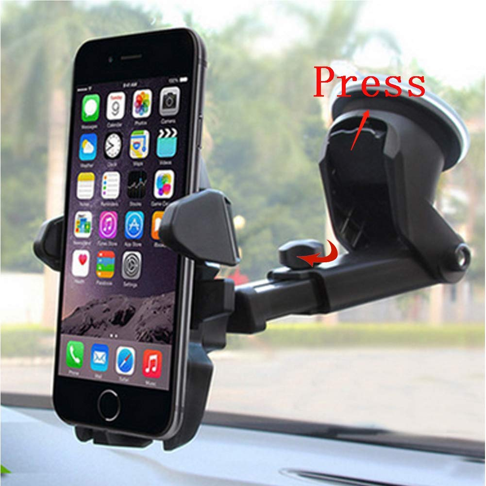 Universal Car Mount Holder Phone, Manords Long Neck One Touch Cell Phone Holder Compatible iPhone XS X 8 8Plus 7 7s 6s Plus 6s 5s 5c Samsung Galaxy S9 S8 Edge S7 S6 Note 9 and More (Black) by Manords