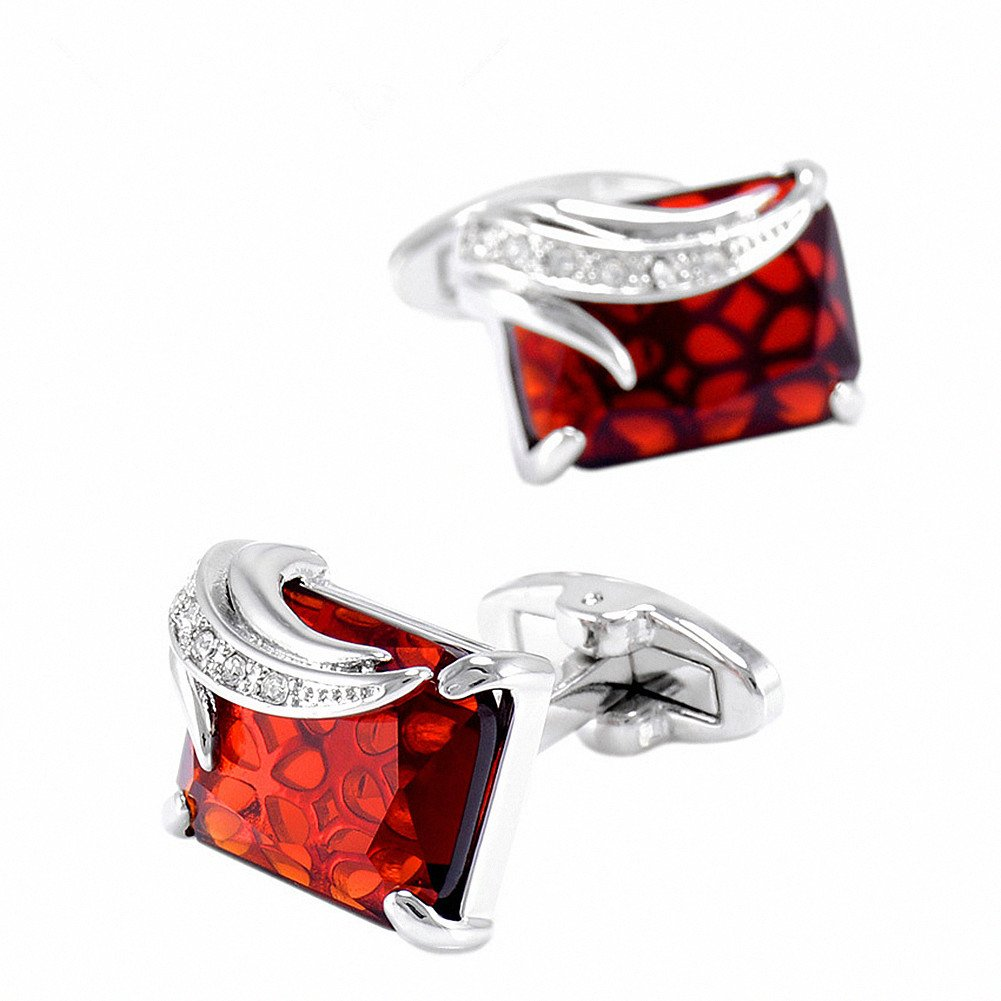 WaMLFac Unique Design Stylish Modern Luxury Crystal Blue Stone Cufflinks for Shirt Wedding Business (Red Wine Stone)