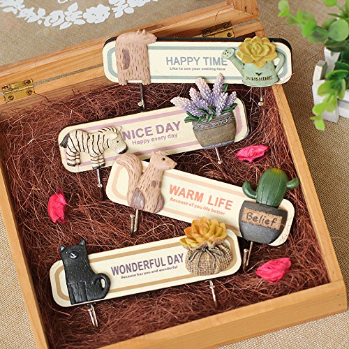 Popoye Pack of 4 Decorative Wall Mount Hooks, Mini Creative Plants and Animals Home Decor with Adhesive Hooks Hanger for Keys,Hats,Towel