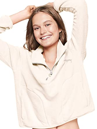 e095f04a1a763 New Victoria's Secret PINK Stadium Half Zip (White, Large) at Amazon ...