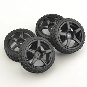 GOOACTION 1:10 Rubber Racing Tires & Wheel Rim for 1:10 High Speed tire with The Sponge Inner tire TouringOn-RoadCar tire