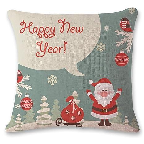 JUNMAONO Navidad Fundas De Almohada, Merry Christmas Lino ...