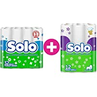 Solo Tuvalet Kağıdı Çift Katlı 32 Li Paket + 12 Li Kağıt Havlu