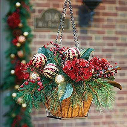 pre lit holiday hydrangea christmas hanging basket - Christmas Hanging Baskets