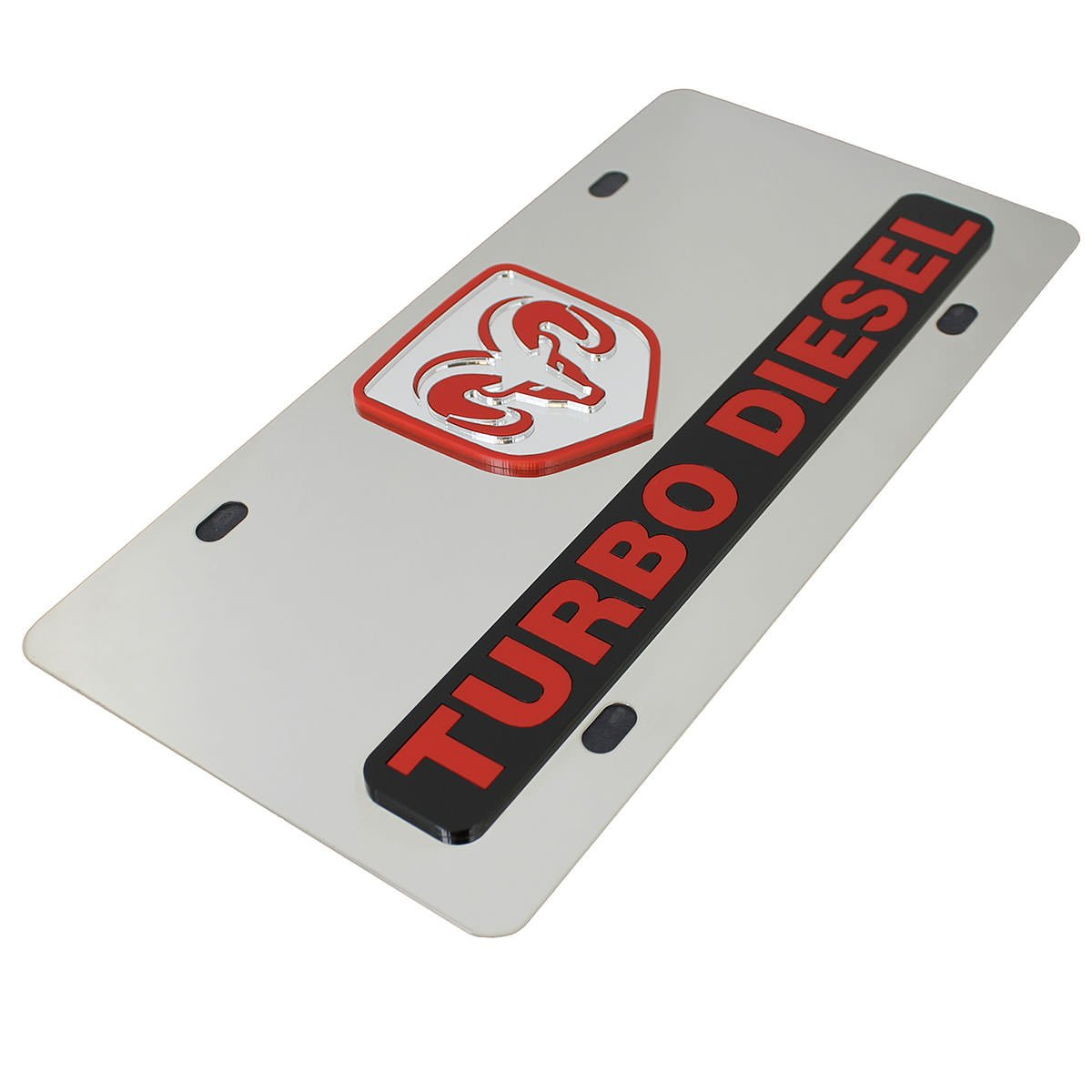 Amazon.com: Dodge Red Ram Logo + Turbo Diesel Name Badge Polished Stainless Steel License Plate: Automotive
