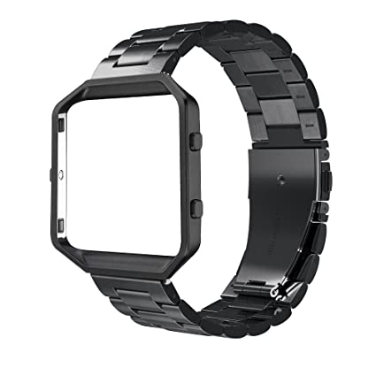 Simpeak Replacement Women Men Stainless Steel Metal Band Strap with Stailess Steel Frame Compatible for Fitbit Blaze Smartwatch (Match Link Removal ...
