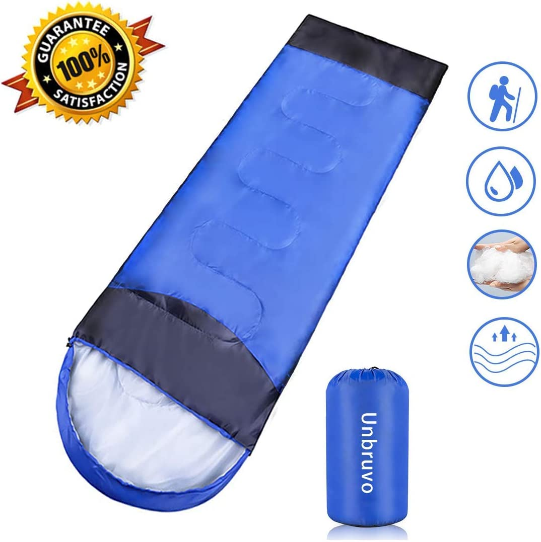 Sleeping Bag for Adults Kids, 3 Season Envelope Sleeping Bag Great for Indoor Outdoor Use, Lightweight Waterproof Camping Sleeping Bag with Compression Sack for Hiking Backpacking Traveling
