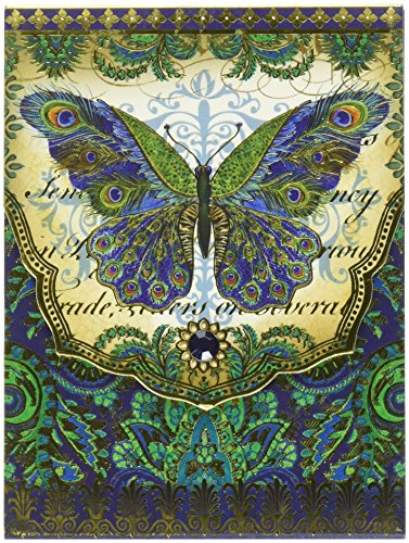 Punch Studio PUN53669 Note Pad Pocket Patchwork Peacock Butterfly
