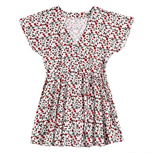 (KCatsy Plunge Neck Short Sleeve Floral Print Button Women A-line Dress White)