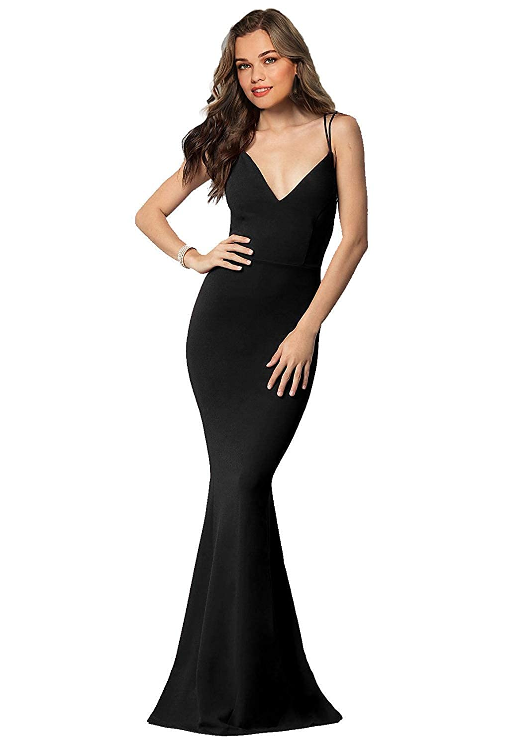 Black Sulidi Women's Long Sexy Mermaid Prom Dresses Backless Evening Formal Party Ball Gowns