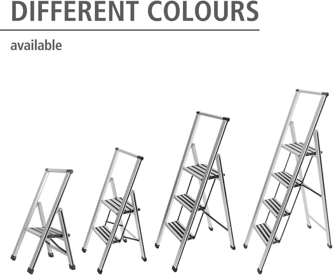 Wenko Escalera Plegable con 3/pelda/ños 44/x 127/x 5,5/cm Color Blanco//Gris Aluminio 601016100/