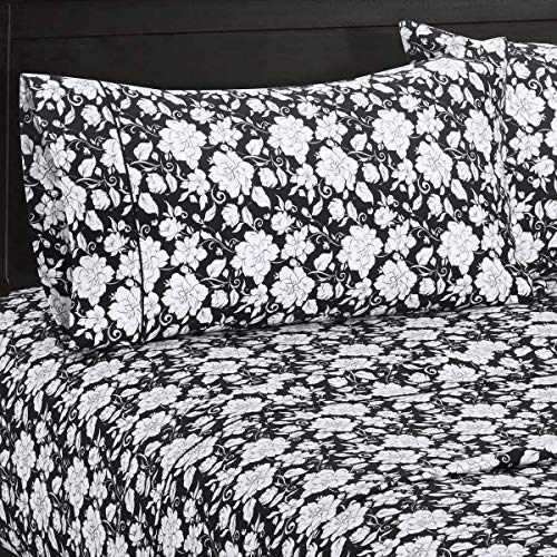 Agnes Floral Sateen Cotton Sheets, 5pc Adjustable King, Split-King Bed Sheet Set 100-Percent Cotton, Superior Sateen Weave, Silky Soft, Deep Pocket, Modern Reactive Print, 300 Thread Count