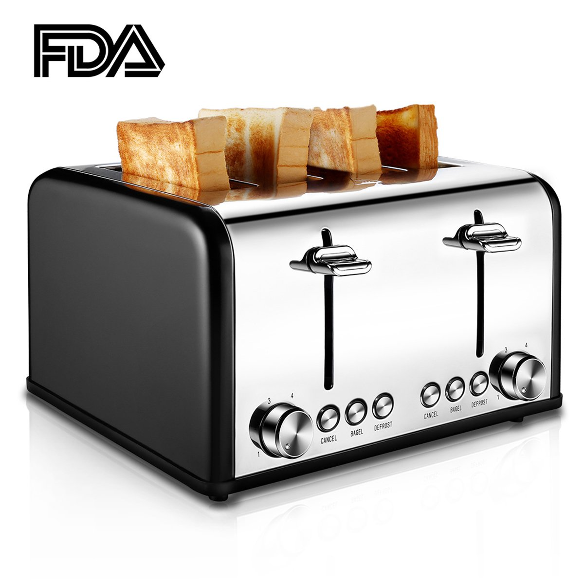 Toaster 4 Slice, CUSIBOX Stainless Steel Toaster with BAGEL/DEFROST/CANCEL Function, Extra Wide Slots Four Slice Bread Bagel Toaster, 1650W, Black