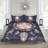 Sleepwish Dreamcatcher Bedding Tribal Duvet Cover 3 Pieces Gold Dreamcatcher Duvet Cover Twin Size with 2 Pillow Shams