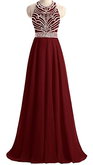 Callmelady High Neck Chiffon Long Prom Dresses Evening Gowns For Women Party (Burgundy, UK6
