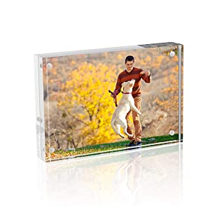 TWING Premium Acrylic Clear Photo Frame - 4x6 inches Magnet Photo Frame -Double Sided Thick Desktop Frames
