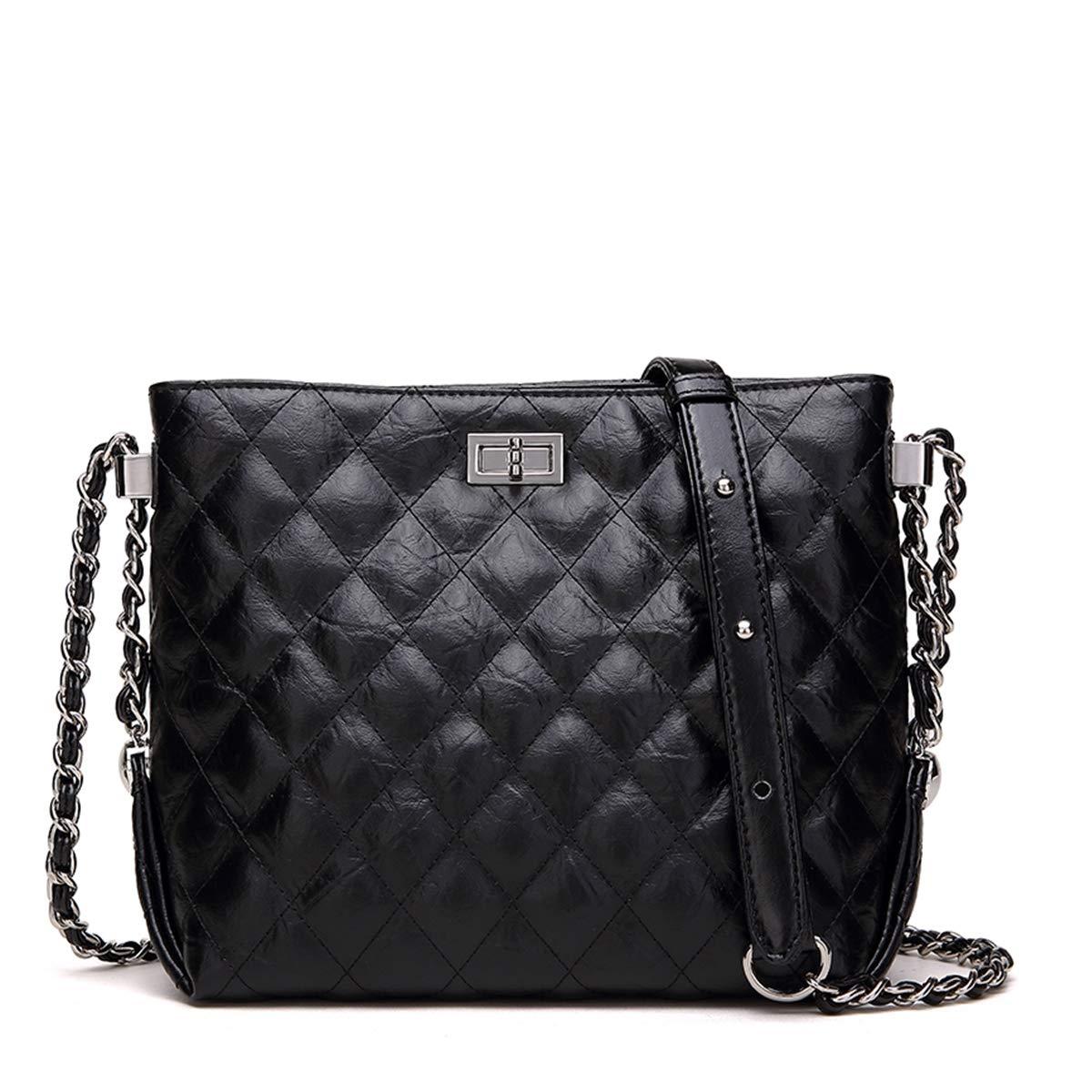 f3c8bdddc2 Neverout Quilted Chain Shoulder Bag for Women Split Leather Zipper Handbags  Purse (NP2119S) (Black-02)  Handbags  Amazon.com