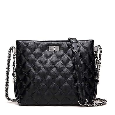 3c088bac6 Neverout Quilted Chain Shoulder Bag for Women Split Leather Zipper Handbags  Purse (NP2119S) (