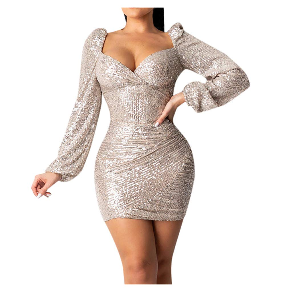 Buy Sayhi Women Sexy V Neck Dresses Glitter Hot Sequin Dresses Long Sleeve Cocktail Party Short Dress Party Ball Gown(Rose GoldXXL at Amazon.in