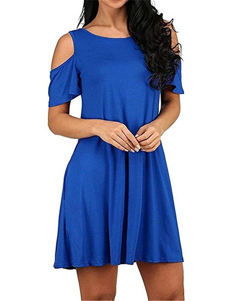 Feel Show Womens Summer Cold Shoulder Tunic Top T-Shirt Dress Pockets Loose Swing Dresses