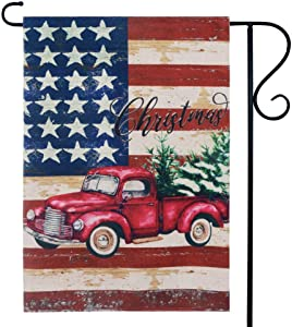 LINKWELL Vintage USA Flag and Christmas Truck Garden Flag Double Sided 12.5 x 18 Inch Small Flag for Yard Decor Outdoor Xmas Home Decoration GF34