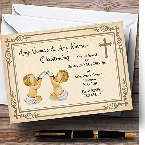 Twins Christening Invitations (Baby Twins Vintage Christening Party Personalized)