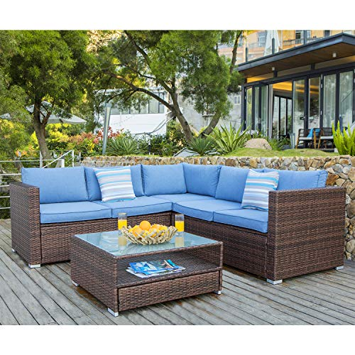 COSIEST 4-Piece Outdoor Furniture Set All-Weather Brown Wicker Sectional Sofa w Heritage Blue Cushions, Glass Coffee Table, 2 Stripe Woven Pillows Incl. Waterproof Cover, Clips for Garden,