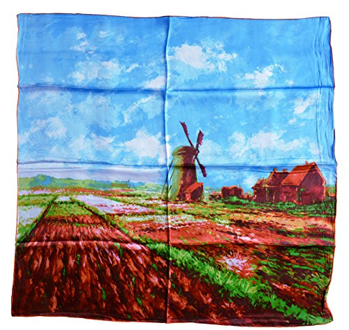YSSP, Tulip Field with the Rjinberg Windmill-Claude Monet's Painting, Square Elegant 100 Silk Scarf Art