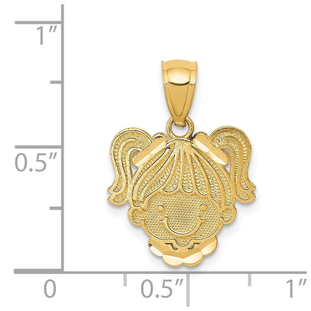 Solid 14k Yellow Gold Polished Girl Head Pendant 18mm x 14mm