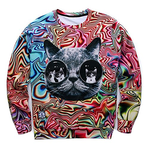 Personality Psychedelic Glasses Cat 3d Space Galaxy Pullover Hoodie Sweat