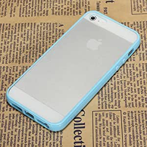 Sky Blue Soft TPU Bumper With Matte Clear Hard Back Case - Candy Case Cover - Apple iPhone 5 5th