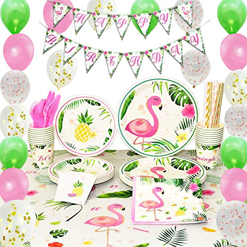 WERNNSAI Flamingo Party Supplies Set - Tropical Party Decorations for Girls Kids Birthday Banner Balloons Cutlery Bag Table Cover Plates Cups Napkins Straws Utensils 16 Guests 169PCS]()