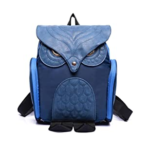 Surper® Cute Women Owl Leather Backpack Mujer Mochila EscolarTravel School Bag (Blue)