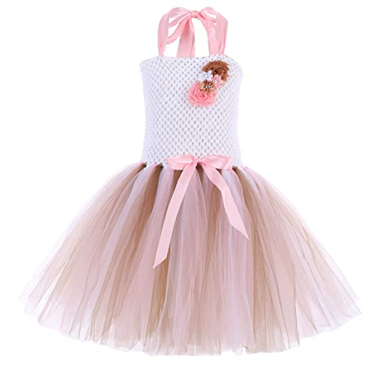 b1cab4304ec Amazon.com  Little Girls Flower Unicorn Birthday Princess Rainbow Tutu Dress  up Cosplay Fancy Costume Tulle Party Headband Outfits  Clothing