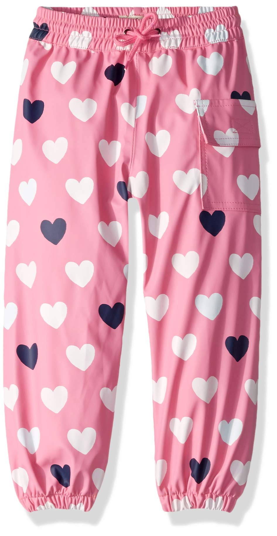 Hatley Girls' Little Splash Pants, Color Changing Lovely Hearts 4 Years