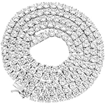 NEW 1 Row Tennis Necklace/Bracelet 20/22/24 Inch Silver Finish Lab Created Diamonds 4MM Iced Out Solitaires