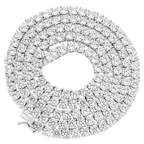 - NEW 1 Row Tennis Necklace 24 Inch Silver Finish Lab Created Diamonds 4MM Iced Out Solitaires (Chain 24'')