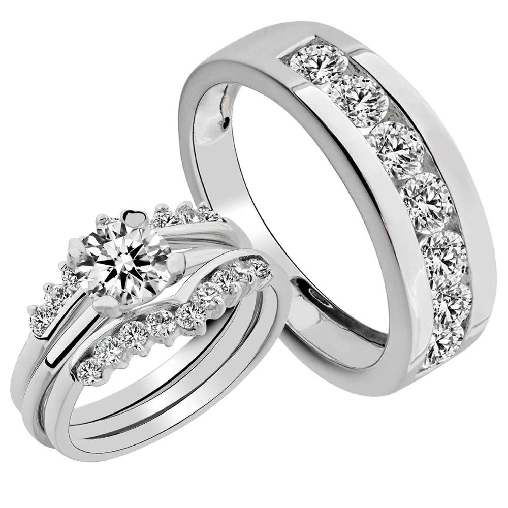 His and Hers Sterling Silver Round 2.0CT Cubic Zirconia Wedding Couple Matching Ring Set SZ 5-13 10 Janjewelry