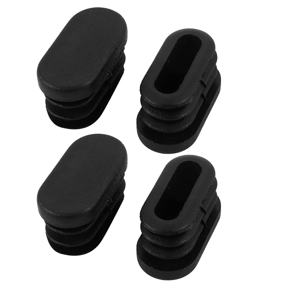 sourcingmap 30mmx15mm Plastic Non Slip Oval Chair Table Leg Protectors Cap Tube Insert 4pcs