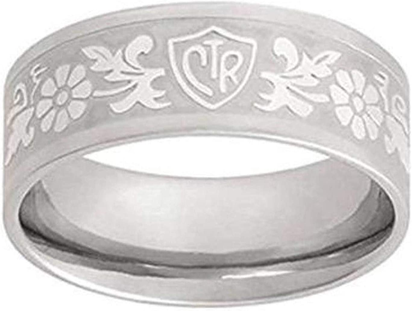 One Moment In Time J125 Size 5-10.5 Daisy Flower Scroll Stainless Steel Ring Mormon CTR LDS
