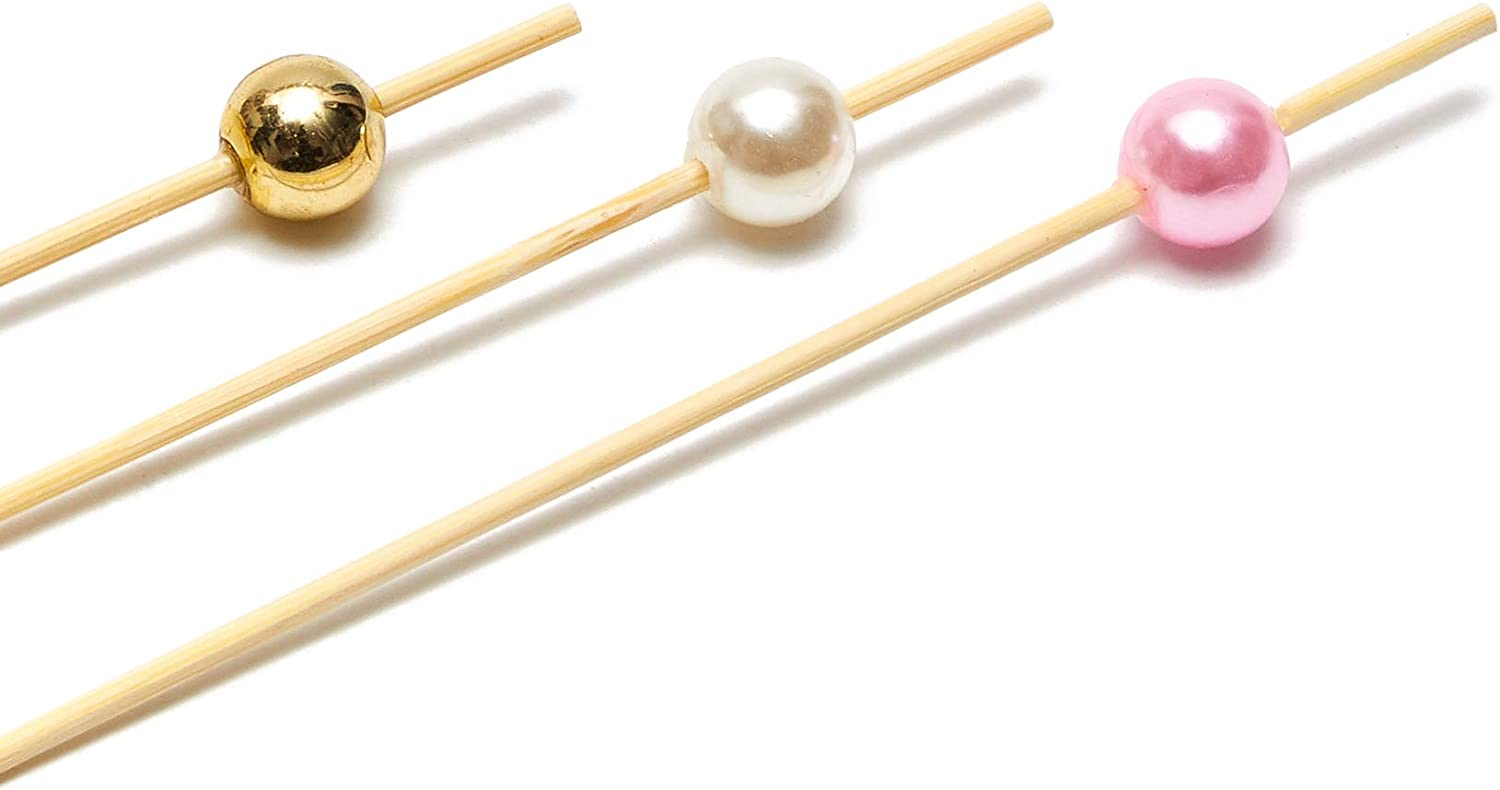 Bamboo Toothpicks White Pearl Cocktail Picks 4.7 In, 150 Pack