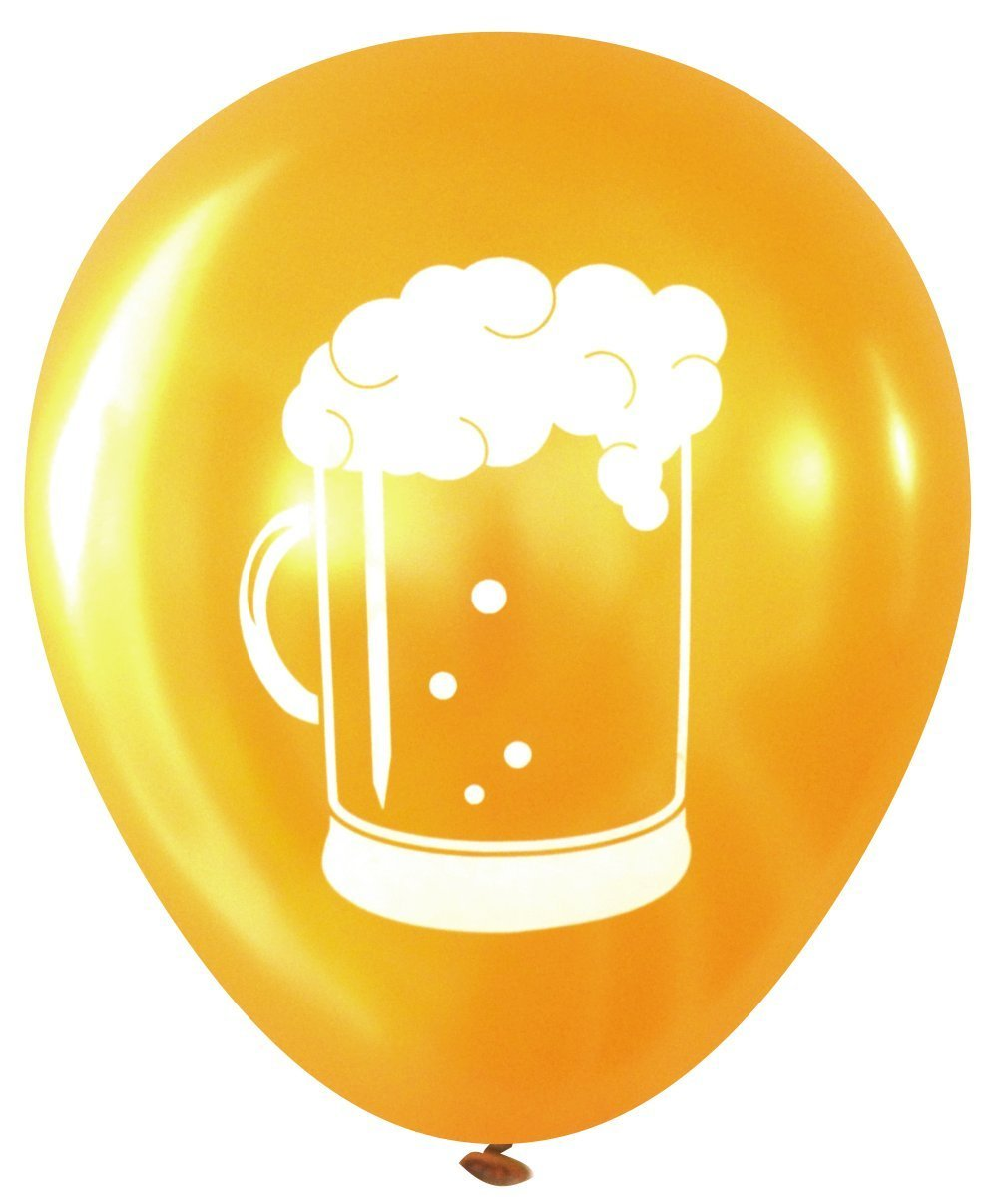 Beer Stein Latex Balloons (16 pcs) by Nerdy Words (Gold)