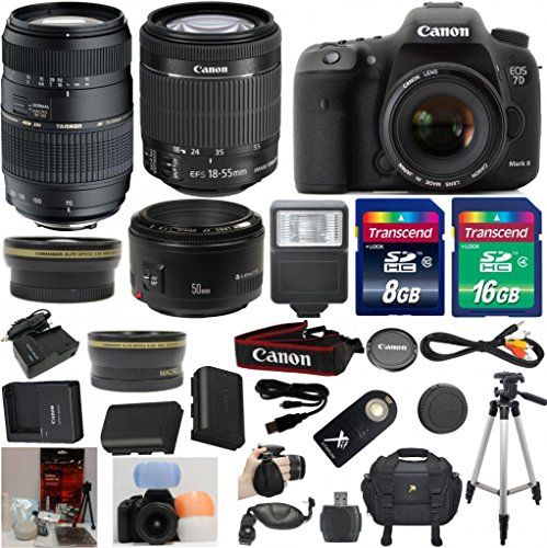 Canon EOS 7D Mark II Digital SLR Camera 33rd Street Starter Bundle with EF-S 18-55mm IS STM Lens + Tamron 70-300mm Di II Zoom AF Lens + Canon 50mm 1.8 II Portrait Lens + Wide Angle Auxiliary Lens + Telephoto Auxiliary Lens + Extra High Capacity Battery + Extra Worldwide Use Charger + Digital Flash + 6pc Commander Starter Kit + 24GB Accessory Kit