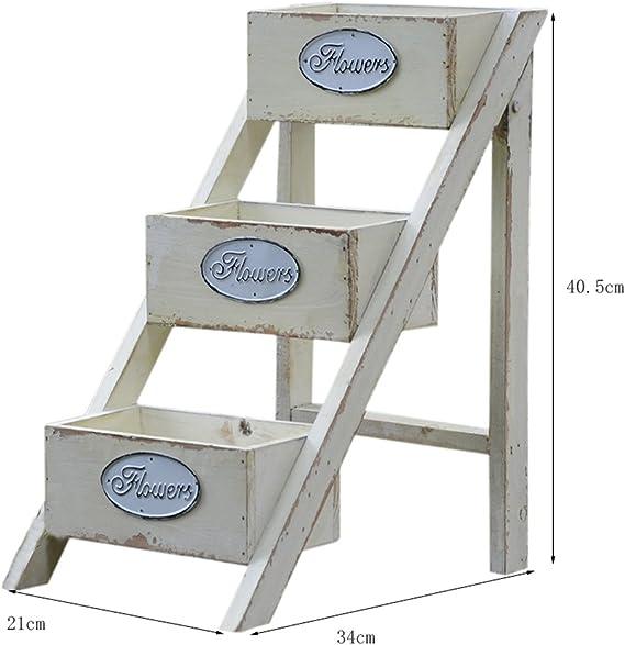 Yang baby Jardinera de madera maciza Mini escalera Rack de almacenamiento de flores American Retro: Amazon.es: Hogar